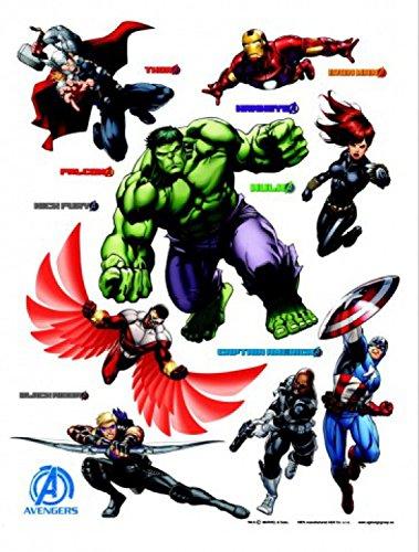 gers - Iron Man, Hulk, Captain America, Thor, Hawkeye, Falcon, Loki, Black Widow Wand-Tattoo Aufkleber Poster-Sticker 85 x 65 cm ()
