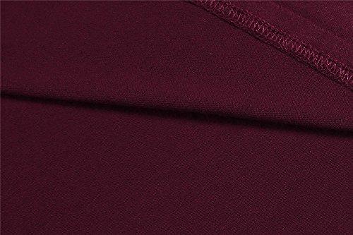 Cardigan Damen, Pagacat Long Strickjacke Symmetrisch Loose Langarm Einfarbig Langshirt Strickmantel M-3XL Wein