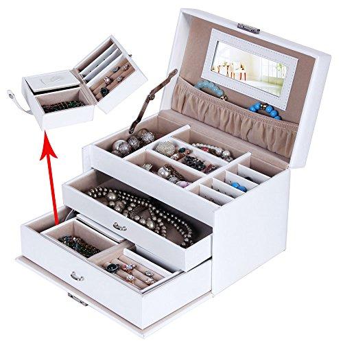 Songmics Schmuckkästchen abschließbar mit spiegel Schublade und Mini-Box (Weiß) JBC126W - 3