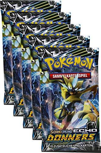 Pokémon Sonne & Mond Serie 8 - Echo des Donners - 5 Booster - Deutsch - Karten-packs 5 Pokemon