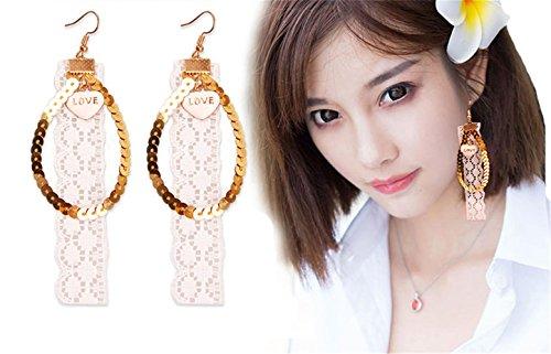 Babyicon Damen Mädchen Schmuck Mode Elegant Weiß Spitze Baumeln Ohrringe (Style 3)