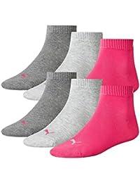 PUMA Unisex Quarter Quarters Sportsocken Kurz Socken 6 Paar 251015, Sockengröße:35-38;Artikel:-656 middle grey mel. / pink