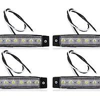 4 x Carrello Auto Bus barca Van indicatore 6 LED Luce Lampada impermeabile nuovo sicuro,Bianco