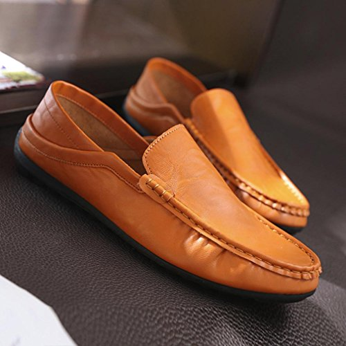 Zapatos Planos De Los Hombres, Moda De Los Hombres Somesun Transpirable Tendencia Suave De Cuero De Conducción Suelta Ocasional En Zapatos Marrones