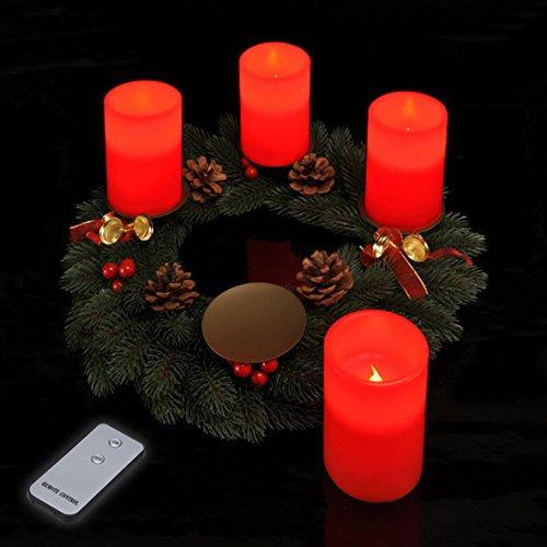LED Adventskerzen 4 Stück mit Fernbedienung in rot Echtwachs Kerzen LED