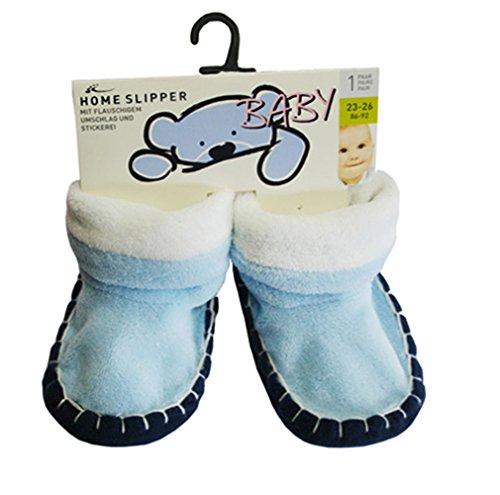 Baby Home Slipper mit Teddyfutter und Motivstickerei sowie textile Antirutschsohle Blau