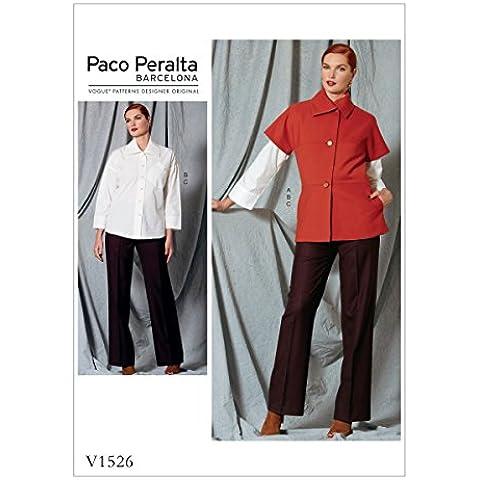 Vogue Patterns 1526Donna Giacca/pantaloni e maglietta–Cartamodello, multicolore, taglie 14–22