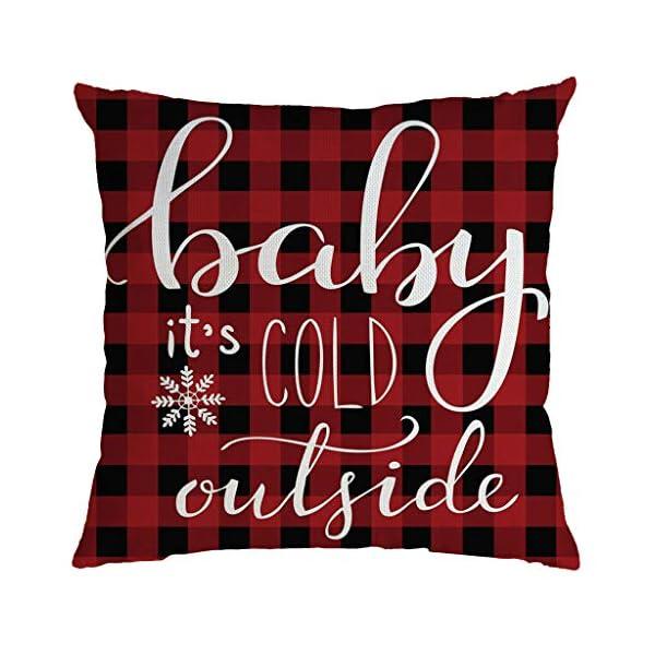 IJKLMNOP Christmas Pillow Square Pillow Case Lino Mat 45x45cm es Adecuado para oficinas, Casas, automóviles, cafeterías… 3