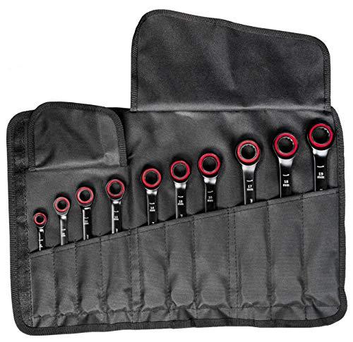 Bosch Professional 10 tlg. Ring Maulschlüssel Satz mit Ratschenfunktion (8-19 mm, Chrom Vanadium Stahl, Transporttasche)