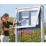 Schaar-Design Schaukasten für Innen- und Außenbereich - Querformat - für DIN A0, Türöffnung 90° nach oben - Alu-Schaukasten Euro-Schaukasten Flachvitrine Infokasten Plakatschaukasten Präsentation Schautafel Schautafeln Wandkasten Wandvitrine