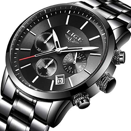LIGE Herren Uhren Männer Militär Wasserdicht Sport Chronograph Schwarz Edelstahl Armbanduhr Luxus Design Business Datum Kalender Modisch Analog Quarzuhr