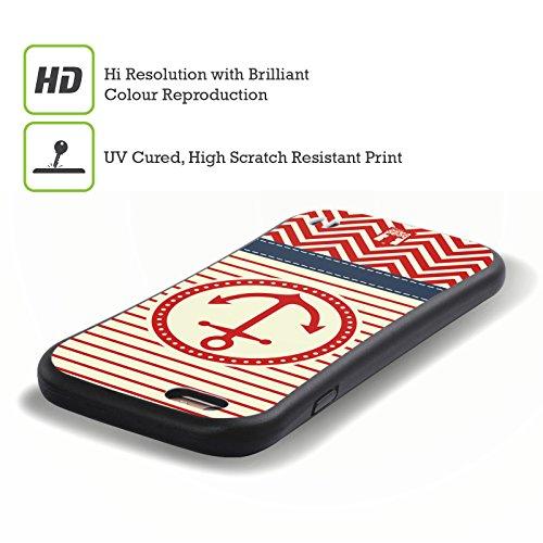 Head Case Designs Roter Anker Nautisches Chevronmuster Hybrid Hülle für Apple iPhone 5 / 5s / SE Roter Anker