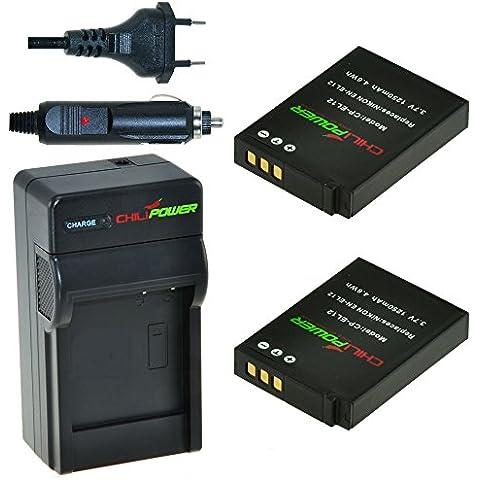 2x Batería + Cargador ChiliPower Nikon EN-EL12, ENEL12 1250mAh para Nikon Coolpix AW100, AW100s, AW110, AW110s, P300, P310, P330, S31, S70, S610, S620, S630, S640, S710, S800c, S1000pj, S1100pj, S1200pj, S6000, S6100, S6150, S6200, S6300, S8000, S8100, S8200, S9050, S9100, S9200, S9300, S9400,