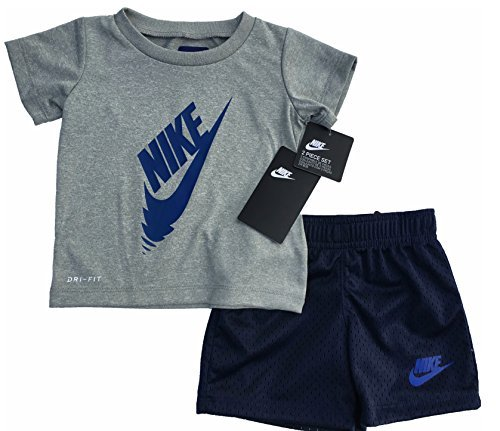 Nike Little Mädchen Home Run Talent Outfit Set, Jungen, Deep Royal Blue(66D014-U1A)/Heather Grey, 12 Monate -