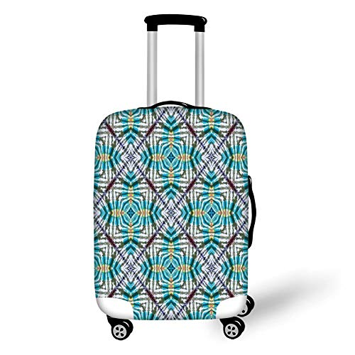 Multi Blush Compact (Travel Luggage Cover Suitcase Protector,Tie Dye Decor,Double Exposure Lined Up Various Figures with Spectral Radiant Tint Blushes Image,Multi,for Travel,L)