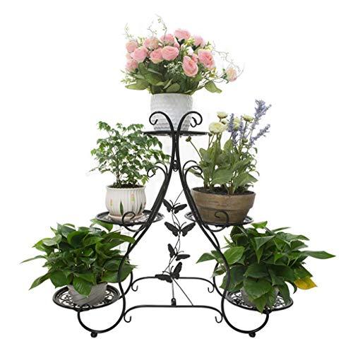 Classic Regal Couchtisch (TYUIO 3-Tiered Classic Pflanzenständer Dekorative Metall Garten Patio Stehende Pflanze Blume Topf Rack Display Regal Hält (Farbe : Schwarz))