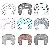 SM2 Baby Stillkissen Lagerungskissen mit Baumwollbezug Bettkopfschutz Kissen 130 cm (Grau / Sterne Nr. 23)