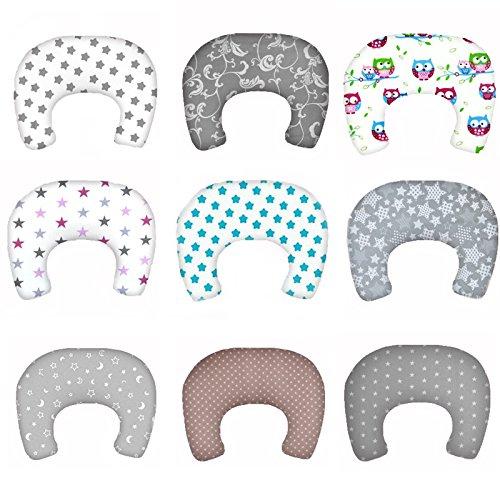 SM2 Baby Stillkissen Lagerungskissen mit Baumwollbezug Bettkopfschutz Kissen 130 cm (Weiß-Grau-Pink / Sterne Nr. - Baby-lernt Flasche