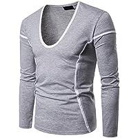 WWricotta Camisetas Casual Hombre Manga Larga Color de Hechizo Líneas Camisas Gimnasio Fitness Sudaderas Polos Streetwear