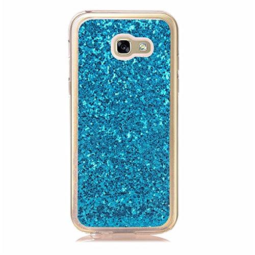 Paillette Coque Housse Etui pour Galaxy A3 2017, Galaxy A3 2017 Coque en Silicone Bling Housse Etui Gel Slim Case Soft Gel Cover, Ukayfe Or Rose Coque Etui de Protection Cas en caoutchouc en Ultra Sli Bling bleu