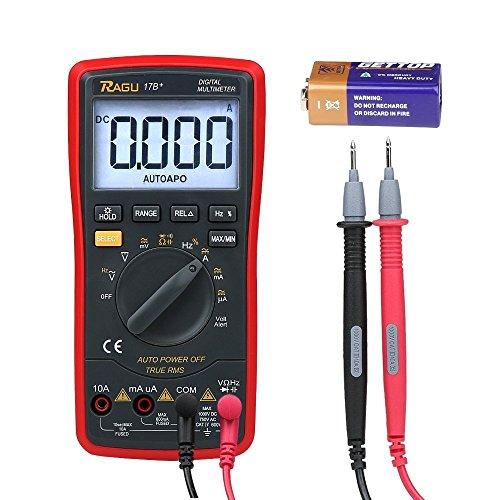 RAGU 17B Messgerät 6000 Count Digital Multimeter mit Ohm Volt Amp Diodendurchlauftest mit Hintergrundbeleuchtung, automatische Messbereichserkennung elektronisches Tester