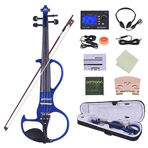 ammoon Violin Electric Silent Tamaño Completo 4/4 Madera Maciza Fiddle Style-3 Clavijas...