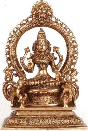 Exotic India Lakshmi wie Amala mit der Tod Maske-Messing Skulptur