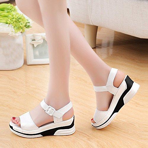 Bescita Damen Sommer Sandalen Schuhe Peep-Toe Halbschuhe römischen Sandalen Damen Flip Flops Weiß