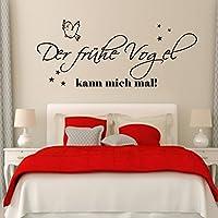 WANDTATTOO Wandschnörkel ® Der frühe Vogel kann mich mal! +++Spruch Wanddekoration Wandaufkleber Schlafzimmer,Farbe./Größenauswahl art 2099 Wandaufkleber