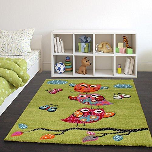 Tappeto per bambini con gufetti su rami nei verde arancione crema blu rosso, dimensione:120x170 cm