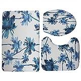 WWDDVH Hawaii Stil Kokospalme Muster 3 Teile/Satz Deckel Wc-Sitzbezug Pedestal Rug Badezimmertürmatten Set Für Wohnkultur-R