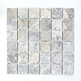 Mosaik Fliese Travertin Naturstein weißgrau silber Antique Travertin für BODEN WAND BAD WC DUSCHE KÜCHE FLIESENSPIEGEL THEKENVERKLEIDUNG BADEWANNENVERKLEIDUNG Mosaikmatte Mosaikplatte