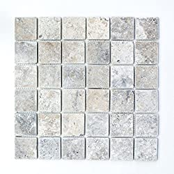 Mosaic Mirror Tile Travertine Natural Stone Grey Silver Antique Travertine Floor Wall Bathroom Toilet Shower Kitchen Counter Trim Bath Panel Mosaic Mat Mosaic Tabletop