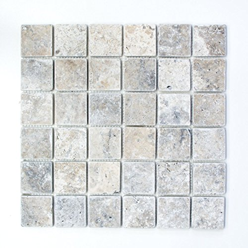 Mosaik Fliese Travertin Naturstein weißgrau silber Antique Travertin für BODEN WAND BAD WC DUSCHE KÜCHE FLIESENSPIEGEL THEKENVERKLEIDUNG BADEWANNENVERKLEIDUNG Mosaikmatte Mosaikplatte -