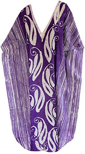 La Leela de las mujeres 100% algodón batik traje de baño bwachwear kimono caftán evevning vestido púrpura
