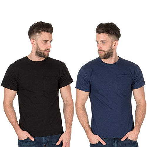 Fruit of the Loom Herren T-Shirt Gr. M, Schwarz und Marineblau (Pocket Heavyweight T-shirt)