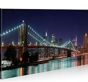 bild bilder auf leinwand brooklyn bridge 1p new york nyc xxl poster leinwandbild wandbild. Black Bedroom Furniture Sets. Home Design Ideas