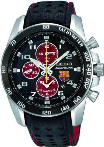Seiko SNAE75P1 – Reloj para hombre con correa de cuero, color negro / gris