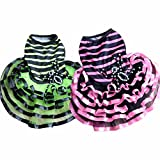 Vetement Chien Kolylong Mode Chiens Pet Puppy Tutu Dress Princesse Striped AraignéE Dentelle Skirt VêTements Apparel (L-Bust: 38cm, Rose)