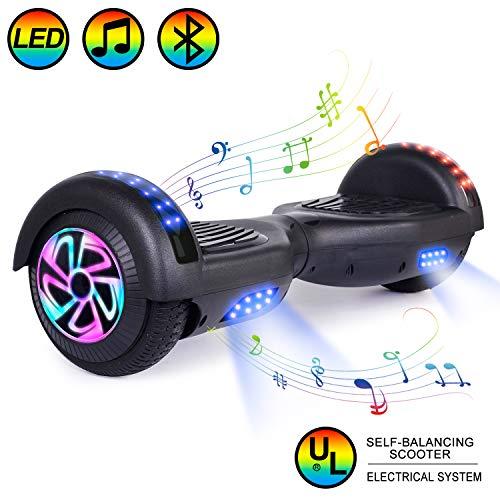 """HOVER-ONE Selbstausgleichender Elektroroller mit 2 Rädern, 6,5""""selbstausgleichendes Hoverboard für Kinder und Erwachsene mit Bluetooth, Swegway-Board mit kostenloser Tragetasche, LED-Licht (Schwarz)"""