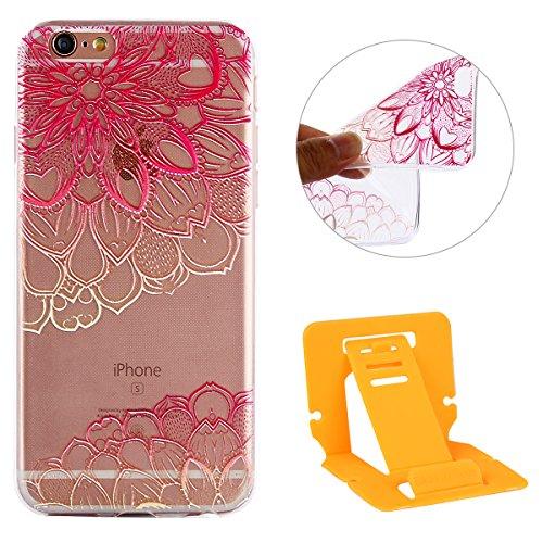 iPhone 6S Hülle,Transparent Crystal Klar Case für iPhone 6,Ekakashop Ultra dünn Slim Bunt Biene Muster Modisch Durchsichtig Weiche Silikon TPU Flexible Gel Case Defender Protective Schutzhülle Handyta Mandala