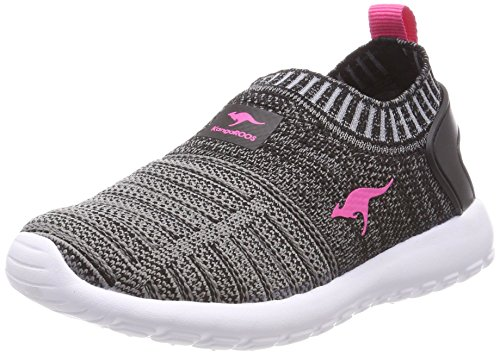 KangaROOS Unisex-Kinder W-600 Kids Sneaker, Schwarz (Jet Black/Daisy Pink), 28 EU