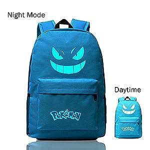 513lhDBSHDL. SS300  - Pokemon Go Luminous Mochila de Hombro Bolsa de bolsa de ordenador portátil escolar Negro con Azul vivos Gengar facial…