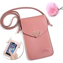 Bolsa de Teléfono de Cuero de PU, Vandot Pequeña Teléfono Móvil Cartera Bolsa Funda Protectora Crossbody Vertical de piel de las Mujeres Estilo Dulce Pantalla Táctil Bolsa Mini Bolsos de Viaje con Pompón Bola de Pelo para iPhone X, iPhone 8 Plus /7 Plus /6s /6 Plus /5 5s SE, Samsung Galaxy S9 /S9+ /S8 /S8 Plus /S6 /S7 Edge/J5 /J7, Huawei Mate 10 /P8 /P9 /P10 Lite 2017, Xiaomi Redmi Note 4X /Note 4 /Note 5A, Xiaomi Mi 6 /Mi 5s Plus /Mi 5X /Mi A1 /Mi Max 2, BQ Aquaris X Pro /E5 /E6 etc, Color Rosa