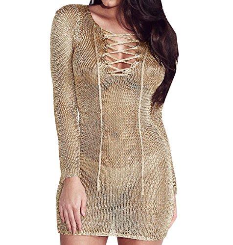 WOZNLOYE Donna Sexy Vestiti Trasparenti da Discoteca Partito Vestito a Maniche Lunghe V Collo Abiti a tubino Mini Abito (IT46 / Asia XL)