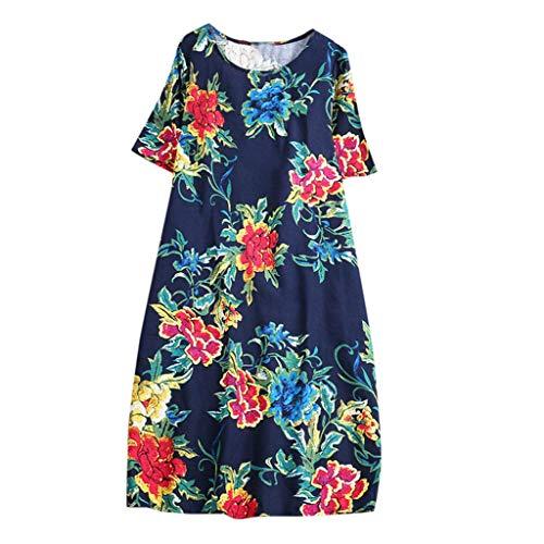 Whycat Sommer Plus Größenkleid Sale Damen Vintage Printed Kurzarm Rundhals Kleid(Marine,3XL