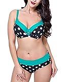 Damen Elastizität Plus Size 2 Stücke Badeanzug Große Cups Bademode Bikini Set Grün 48