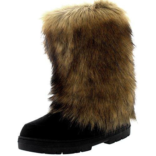 Femmes Grand Fourrure De Lapin Couvert Neige Pluie Imperméable Yeti Esquimau Hiver Bottes Noir