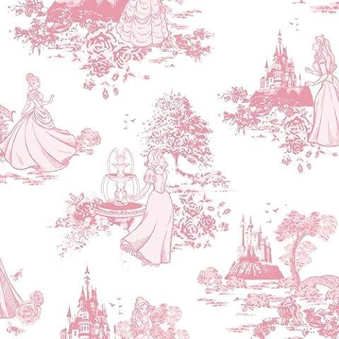 Disney Princess Toile Pink Wallpaper