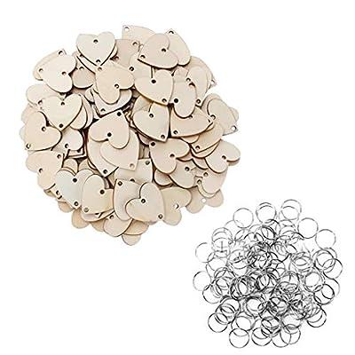 zarupeng✦‿✦ 50 unids Manual DIY en forma de corazón calendario listado registro pieza de madera hogar boda decoración colgante de zarupeng